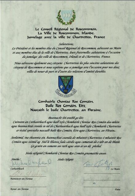 Acte jumelage chartrettes ros comain francais gaelique 1